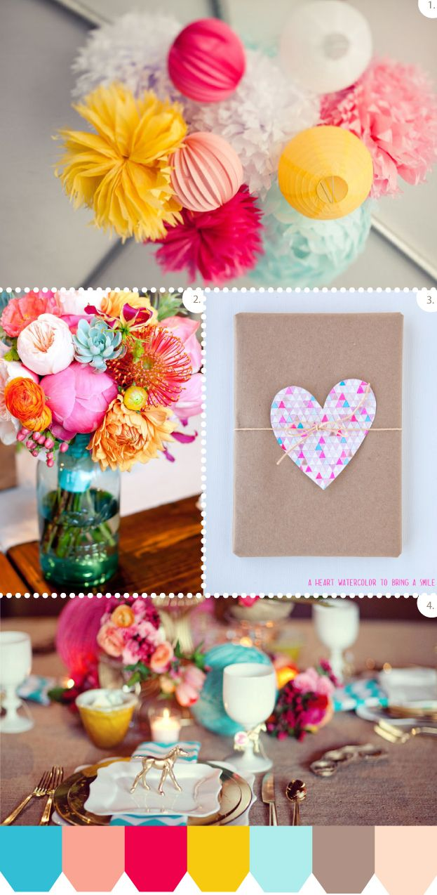 Fun and frisky wedding palette (via Mint Studio)