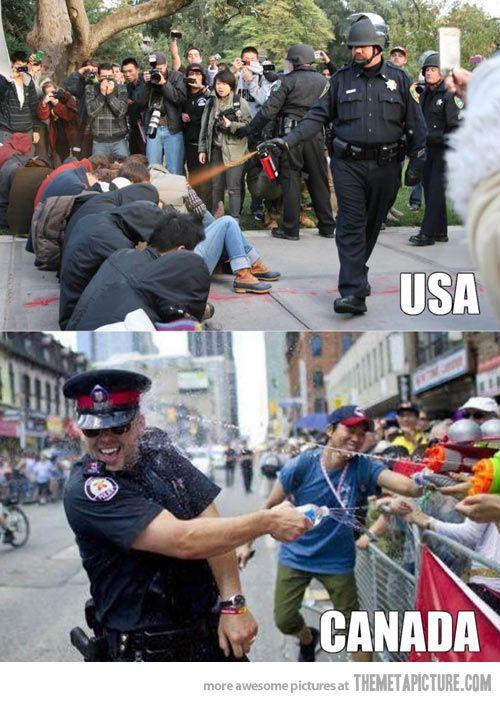 American police vs. Canadian police…