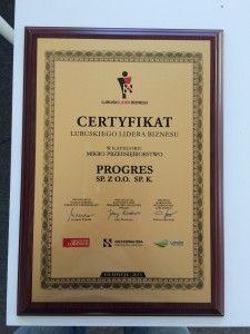Grupa Progres wyróżniona podczas VII edycji konkursu Lubuskiego Lidera Biznesu 2015