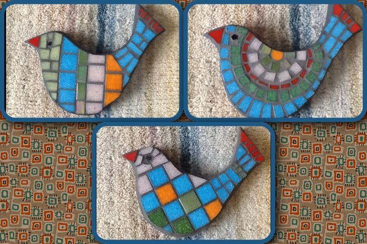 Set of three mosaic birds