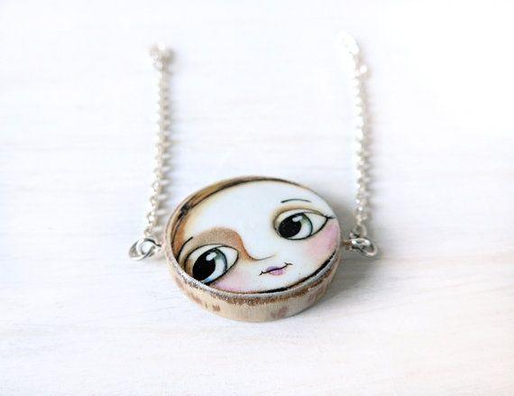 Bracciale faccia bambina occhi grandi, fatto a mano con riproduzione arte Margherita Arrighi