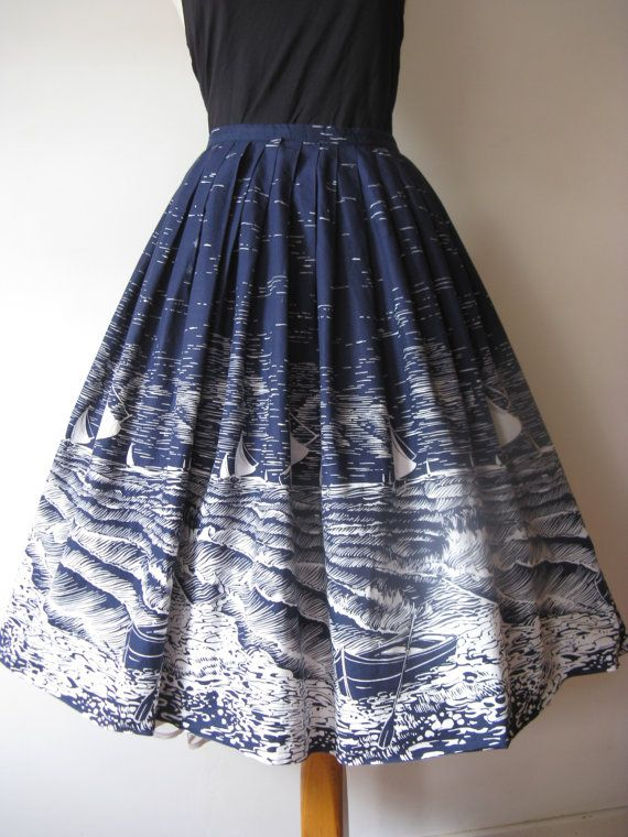 Original vintage 50's novelty print skirt by VintageHoards on Etsy
