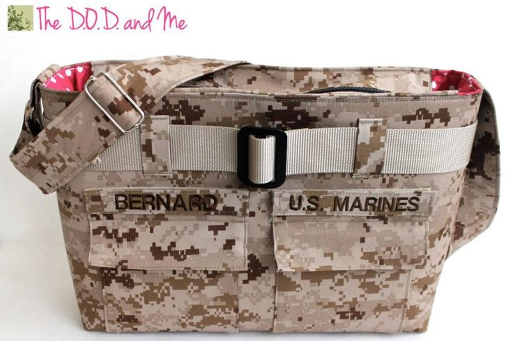 Military Marine Diaper Bag, isn't this super cute?! I need to find where to get one!!
