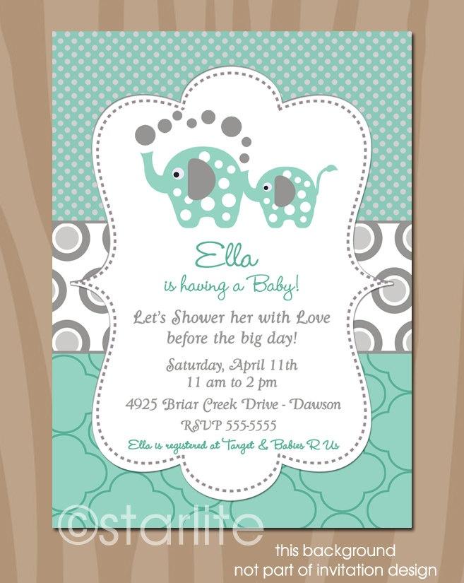 Elephant Baby Shower Invitation - Elephant Showers - Mint and Gray - Gender Neutral - Baby Shower  - Printable DIY. $15.00, via Etsy.