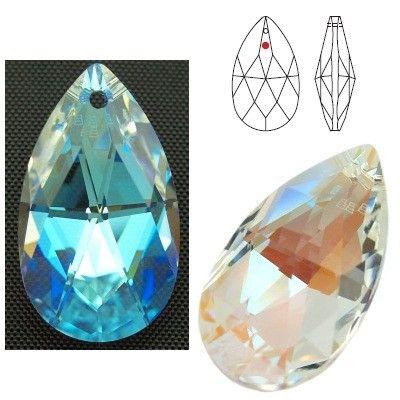 STRASS Swarovski 8721 Pear Shape 28mm Crystal Blue AB  Dimensions: 28,0 mm Colour: Crystal Blue AB 1 package = 1 piece