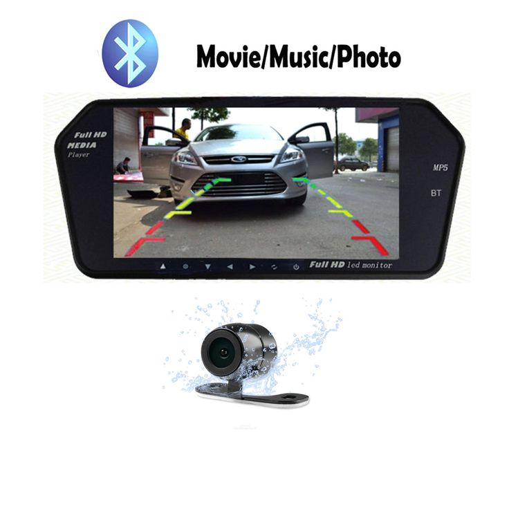 7inch MP5 USB SD Bluetooth Car Rearview Mirror Monitor HD 800*480 Auto Rear Mirror Monitors for Car Rear View Camera