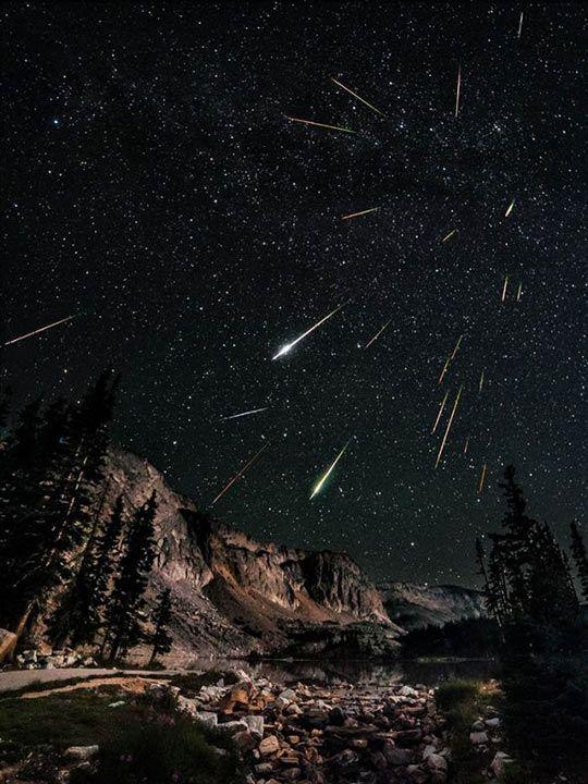 Long exposure of meteors.  Like in Star Wars or Star Trek when they go into hyperspeed.