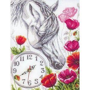 """Panna """"Часы. Лошадь в маках"""" Ч-1434 наборы для вышивания  интернет-магазин Salfetka-shop.ru"""