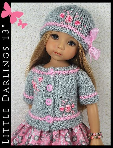 "OOAK Gray & Pink Outfit for Little Darlings Effner 13"" Maggie & Kate Create"
