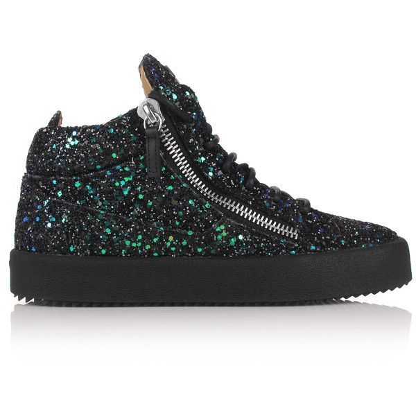 Giuseppe Zanotti Women's Kriss Glitter High-Top Sneakers ($950) ❤ liked on Polyvore featuring shoes, sneakers, black glitter shoes, black high-top sneakers, black high top shoes, black hi tops and lace up sneakers