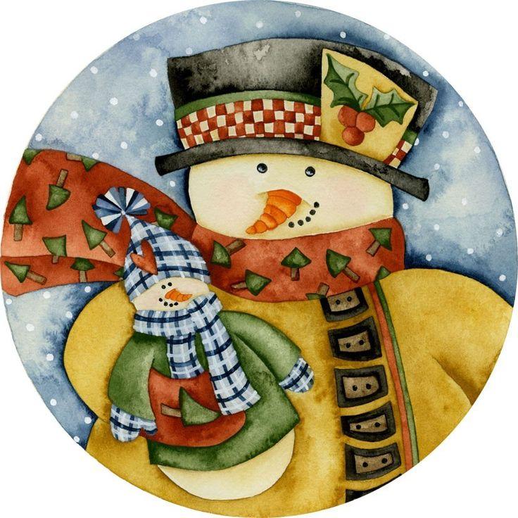 Navidad muññeco de nieve i Mis Laminas para Decoupage (pág. 639) | Aprender manualidades es facilisimo.com