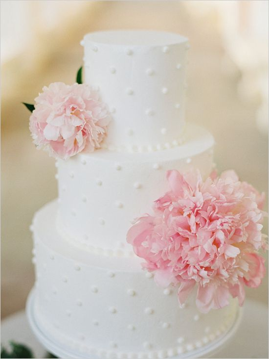 swiss dot white wedding cake