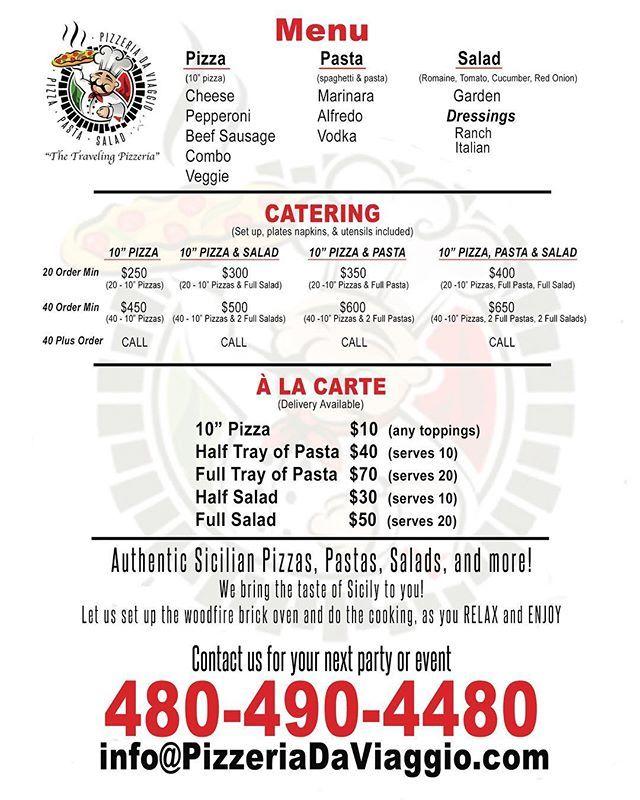 """#menu #PizzeriaDaViaggio #catering #parties #events #packages #pizza #pasta #salad #woodfired #brickoven #authentic #sicilian #italian #food #az #arizona #phoenix #glendale #tempe #chandler #gilbert #tucson #scottsdale #cavecreek #delivery"" by @pizzeriadaviaggio. #이벤트 #show #parties #entertainment #catering #travelling #traveler #tourism #travelingram #igtravel #europe #traveller #travelblog #tourist #travelblogger #traveltheworld #roadtrip #instatraveling #instapassport #instago #여행…"