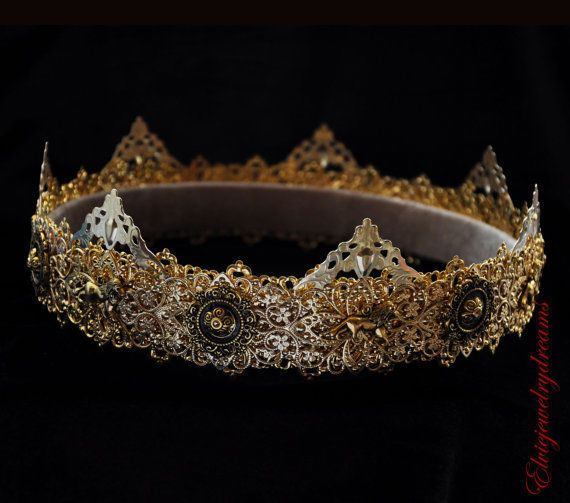 GOLD Male crown Man costume Medieval Men's crown King Crown Dolce crown Prince