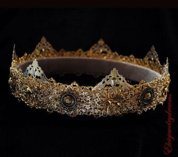 GOLD Male crown Man costume Medieval Men's crown King Crown Dolce crown Prince