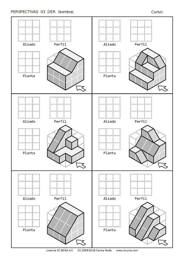 Ejercicios De Vistas Y Perspectivas Alzado Derecho Piezas Con Rampas Dibujos De Geometria Dibujo Perspectiva Ejercicios De Dibujo