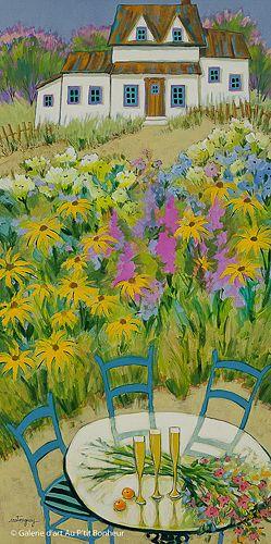 Claudette Castonguay, 'Nous prendrons l'apéro au jardin...', 18'' x 36'' | Galerie d'art - Au P'tit Bonheur - Art Gallery