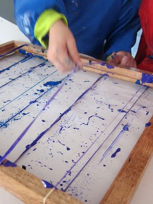 Snap Painting with Rubber Bands. Fun twist on everyday painting. {Joyfully Weary}