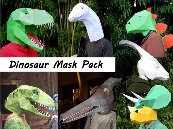 Make your own dinosaur masks from paper, card stock, or cardboard with these PDF templates!  Includes: T-Rex, Velociraptor, Pterodactyl, Brontosaurus, Triceratops, Stegosaurus, Parasaur, and BONUS Pachycephalosaurus, not available elsewhere!  Order everything in this single package and get a $53 value for almost half the cost!  All masks are designed to simply slip over the head and are sized for an average adult. Child sizes also included*. Paint the finished creations however you like to…