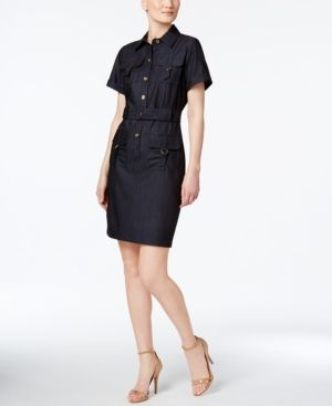 Calvin Klein Petite Belted Utility Shirtdress  - Blue 10P