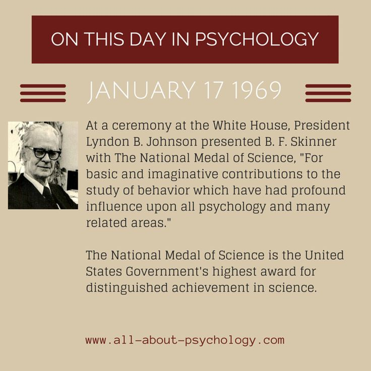 17th January, 1969. B. F. Skinner was presented with The National Medal of Science. Studying psychology? Click on image or GO HERE --> www.all-about-psychology.com for free psychology information & resources. #psychology