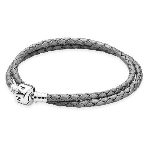 PANDORA Double Silver-Grey Leather Bracelet