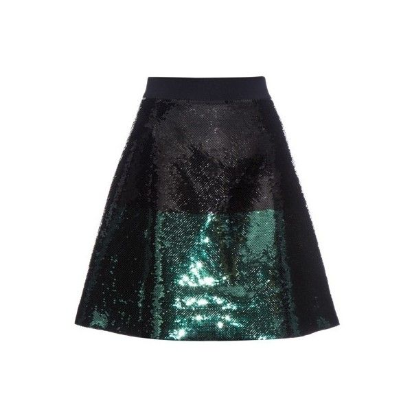Cédric Charlier A-line sequinned mini skirt ($773) ❤ liked on Polyvore featuring skirts, mini skirts, bottoms, black green, sheer mini skirt, short skirts, sparkle skirts, green sequin skirt and high-waisted skirts