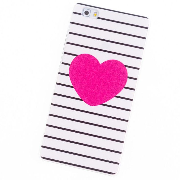 Phone Cases for Huawei Ascend P8 Lite case mini P8lite P6 P7 P8 P9 Plus Pink Heart Stripe cover Coque bag Brand Screen protector