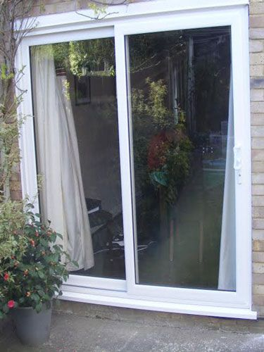 Patio sliding patio doors and doors on pinterest for Double wide patio doors