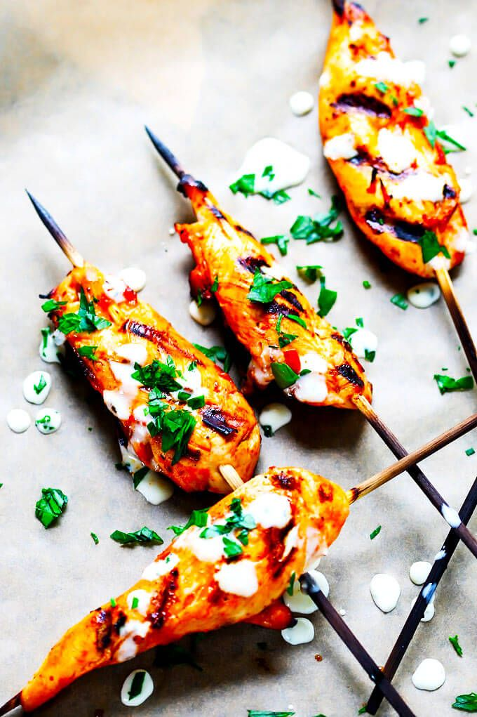 Honey Harrisa Chicken Skewers with Garlic Mint Sauce