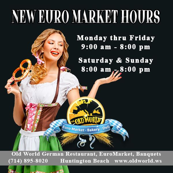 New  Market Hours! Mon - Fri 9 AM - 8 PM Sat & Sun 8 AM - 8 PM Newly redesigned, stocked with even more than before, from everyday  basics to German baked goods, deli & market items! Stop by and shop!  #oldworldhb #surfcityusa #DeutscherMarkt #GermanMarket