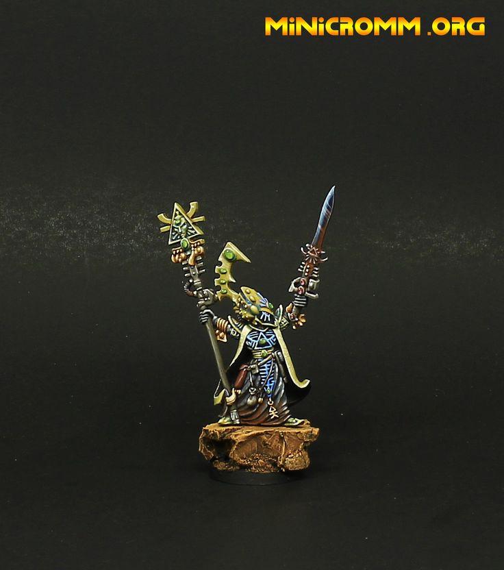 Warhammer 40k Eldar farseer painted.