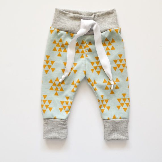 Mustard Triangle Print Baby Joggers, Baby Jogger Pants, Baby Boy Leggings, Baby Leggings, Baby Pants, Toddler Leggings, Hipster Baby Clothes