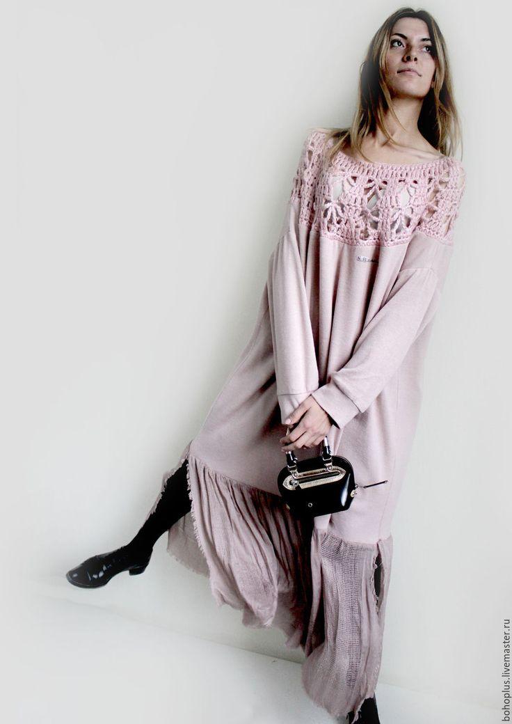 """Купить Платье свободного кроя """"Поцелуй розы2"""" - бледно-розовый, однотонный, нежность, нежно-розовый"""
