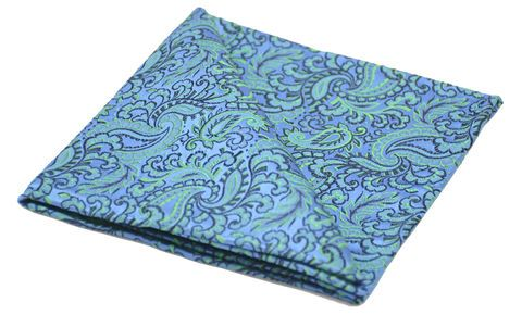 HALCYON Woven Silk Pocket Square #pocketsquare #pocketsquares #silk #squares #silksquare #handkerchief #silkhandkerchief #handkerchiefs #britishmade #british #made #madeinuk #luxury #menswear #accessories #wedding #style #outfit #inspiration #groom #groomswear #matchingset #seagreen #sea #green #bluebell #blue #paisley #paisleypocketsquare