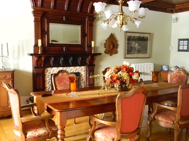 Love my chairs I had refinished and upholstered...they match my harvest table and complement the fireplace on the dining room