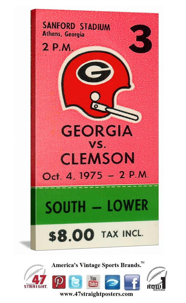 1975 ~Clemson vs. Georgia football ticket