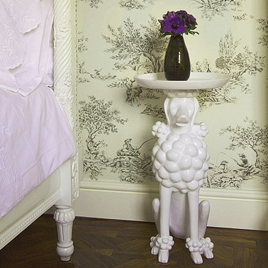 Obedient Poodle White Side Table    £195