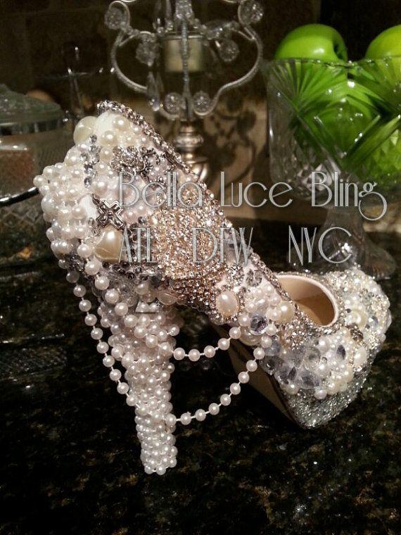 Custom pearl crystal rhinestone wedding bridal formal high heels platforms  shoes  7f3a39e5e0