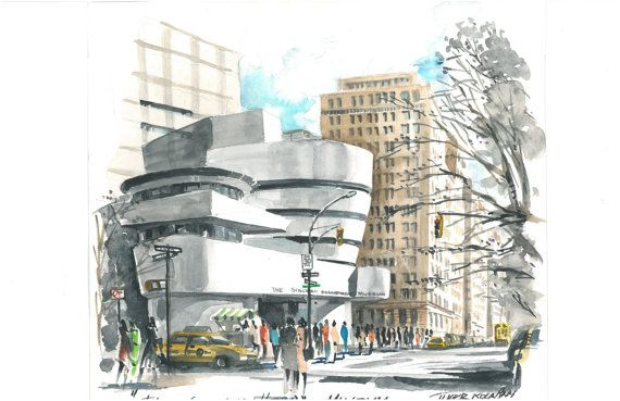 D Printer Exhibition New York : New york city sketch guggenheim museum watercolor by