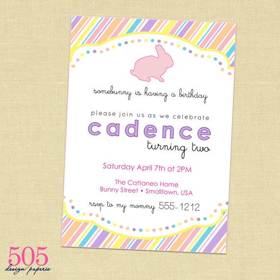 Printable Bunny Birthday Party Invitation  Customized by 505design, $12.50