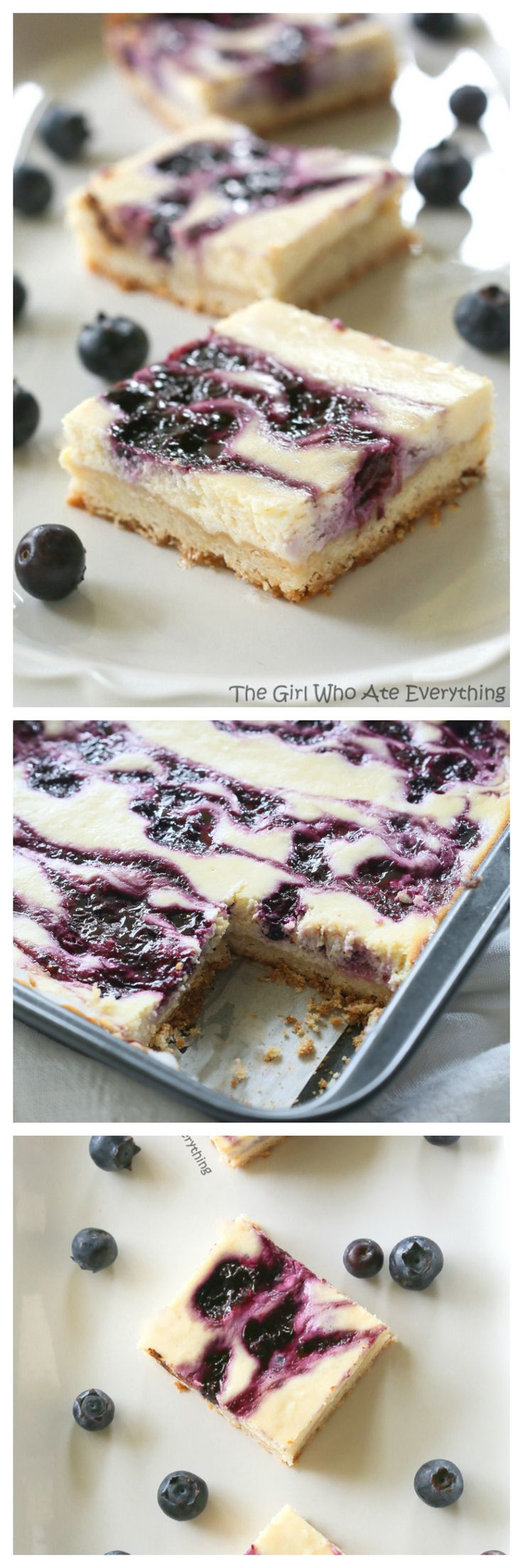 Blueberry Lemon Cheesecake Bars - summer flavors with a shortbread crust. {The Girl Who Ate Everything}
