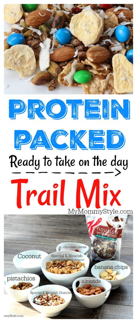 Protein Packed Trail Mix. You will love this trail mix as it is made to fuel you with energy that has staying power. You may decide to skip the chocolate chips as it already has dark chocolate bits in it so it doesn't really NEED more. You decide! #ownit #ad