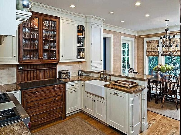 Built In China Cabinet With Granite Counter Top Adds Variety To This Small  Kitchen Part 73
