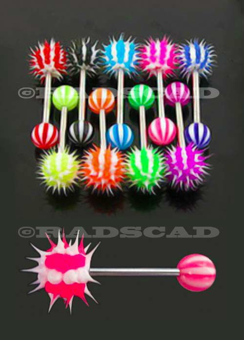 10+x+KOOSH+BALL+BULK+LOT+14G+TONGUE+BAR+RING+STAINLESS+STEEL+BODY+PIERCING+A68+#Unbranded