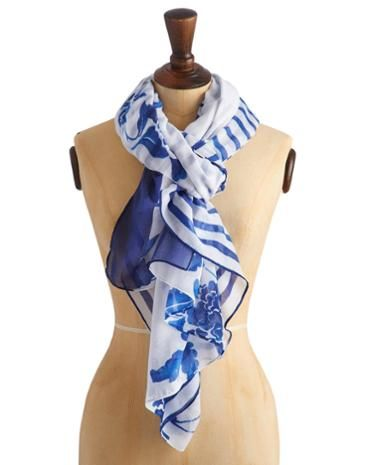 Joules Womens Oversized Scarf, Lake Blue Floral.                     When it comes to a scarf to wrap up in on those breezy summer days and nippy summer nights, size matters. This oversized, sumptuous accessories ticks all the boxes. You'll wonder what you did without it.