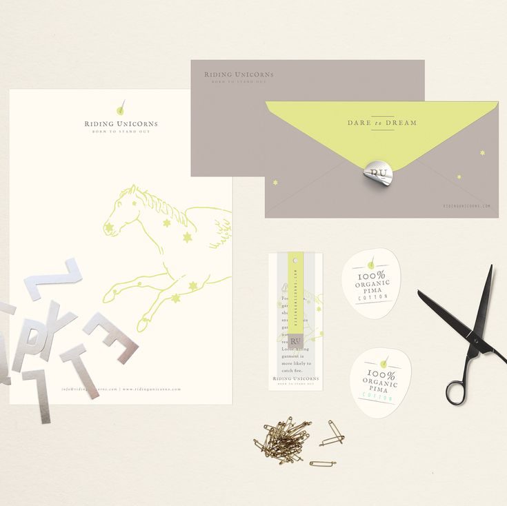 Branding stationery for the whimsical brand  @ru_ridingunicorns✨