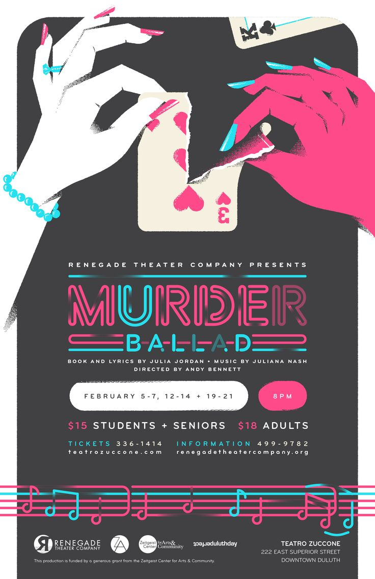 Poster design 2015 -  Murder Ballad Theater Poster Design For Renegade Theater Company In Duluth Minnesota