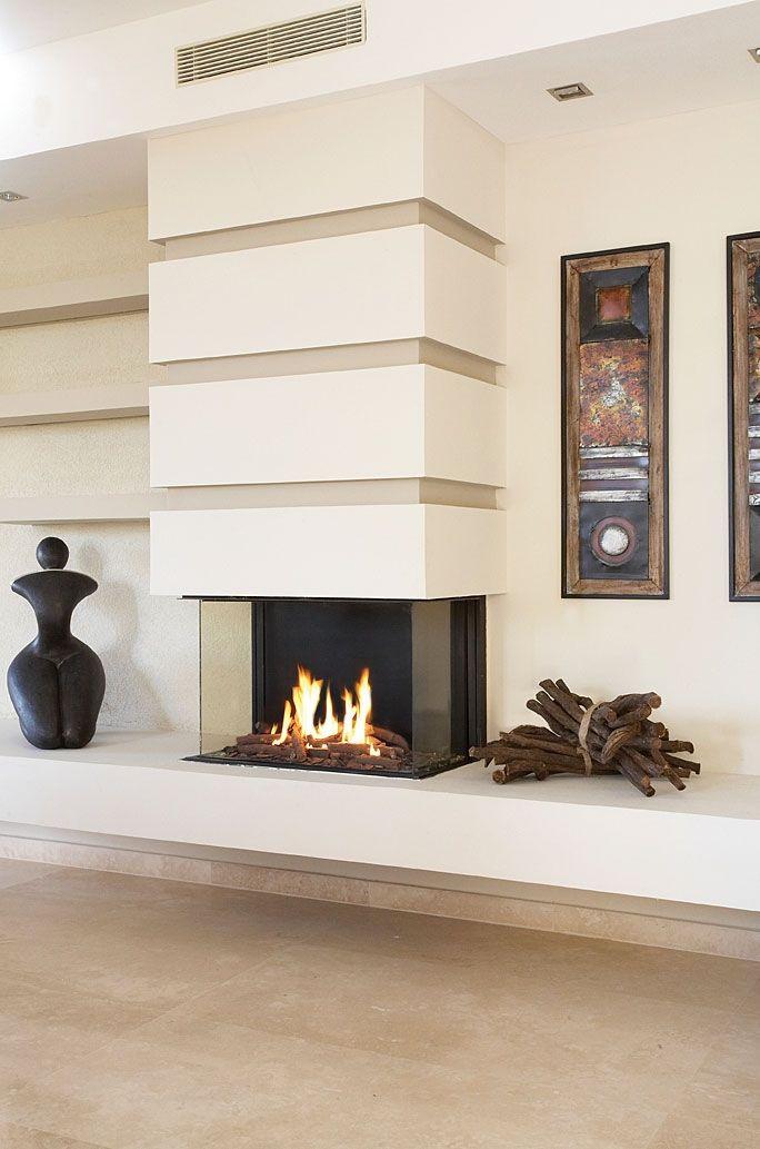 modern 3 sided fireplace - Google Search