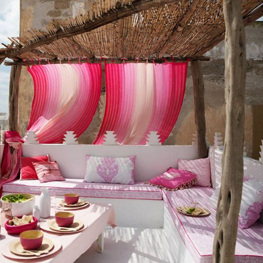 relaxation: Patio Design, Terrace, Feng Shui, Idea, Outdoor Living, Color, Moroccan Style, Pink, Outdoor Spaces